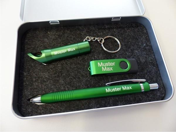Geschenkset Metallbox 14 grün