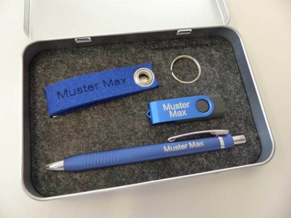 Geschenkset Metallbox 10 blau