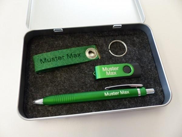 Geschenkset Metallbox 10 grün